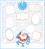Nine  simple frames and Santa Claus. Nine  calligraphic simple beautiful frames and Santa Claus Royalty Free Stock Images