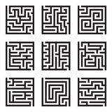 Nine simple maze isolated vector set Royalty Free Stock Images