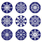 Nine snowflakes Stock Images