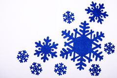 Nine snowflakes of dark blue Stock Photos