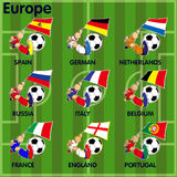 Nine soccer football teams from Europe. Vector cartoon of Nine soccer football teams from Europe including  Spain, German, Netherlands, Russia, Italy, belgium Stock Photos
