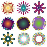 Nine Spirographs. Shapes created in Adobe Illustrator Royalty Free Stock Image