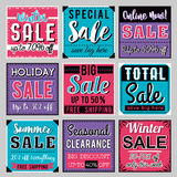 Nine Square banners with sale offer, vector. Illustration royalty free illustration