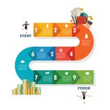 Nine Step Path Infographic Royalty Free Stock Photography