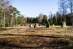 The nine stone circles of Hunn. Hunn is a sort of prehistoric park near Fredrikstad in Østfold county. Hunn holds several historic cemeteries, runes and ancient royalty free stock photography