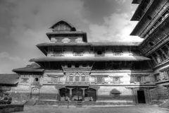 Nine storey Basantapur Tower in Nasal Chowk Courtyard Royalty Free Stock Photo