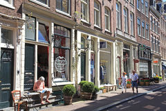 The Nine Streets with vintage stores and cosy cafes, Amsterdam. Royalty Free Stock Image