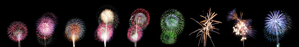 Nine style of Fireworks or firecracker. Royalty Free Stock Photography