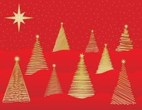 Nine Stylized Christmas Trees - Vector File. Nine Stylized gold Christmas Trees on red background - Vector File Vector Illustration