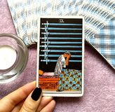 9 Nine of Swords Tarot Card Deep Unhappiness Joyless Mental Anguish Sick with Worry Anxiety Stress Worries Burdens stock illustration
