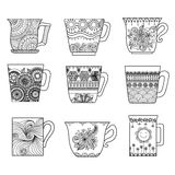 Nine Tea Cups Line Art Design For Coloring Book For Anti Stress, Menu Design Element Or Other Decorations Royalty Free Stock Photography