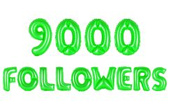 Nine thousand followers, green color Royalty Free Stock Images
