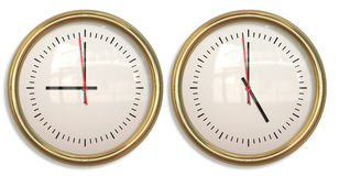 Nine to five two clocks Royalty Free Stock Photography