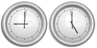 Nine to five two clocks Stock Photography