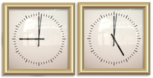 Nine to five two clocks Royalty Free Stock Photos