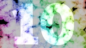 Nine to ten years birthday fade in/out animation with color gradient moving bokeh background.
