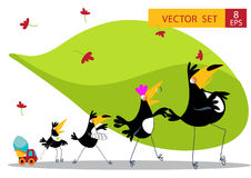 Nine Toucan cartoon collection Royalty Free Stock Images