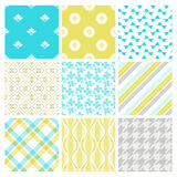 Nine trendy textile or wallpaper pattern Royalty Free Stock Image