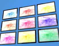 Nine TV Monitors Wall Mounted Stock Photos
