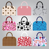 Nine types of lady colorful handbags Stock Photos
