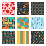 Nine unique random hand draw pattern set. Stock Images