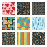 Nine unique random hand draw pattern set. The vector set of 9 unique random hand draw patterns Stock Images
