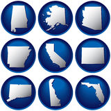 Nine United States Buttons Stock Image