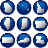 Nine United States Buttons Stock Photos