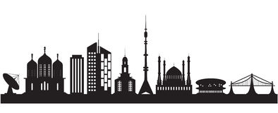 Nine urban and religious buildings Royalty Free Stock Photo