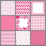 Nine valentine heart patterns Royalty Free Stock Image