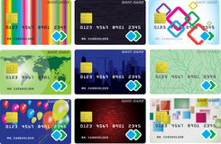 Nine variants of credit cards. Set from nine variants of credit or debit cards. Vector illustration Royalty Free Stock Photos
