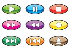 Nine varicoloured buttons for player Stock Photography