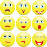 Nine varied expressions of persons. Smilies. Vector illustration Stock Photo