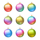Nine vector Christmas balls decorated with stars. Set of nine vector colorful and shiny Christmas balls decorated with stars pattern. Each object is a separate Stock Photo