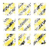 Nine vector old worn, tattered, scratch squares of yellow black stripes.  Stock Photos