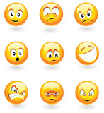 Nine Vector Smilies. Set of nine smilies with different expressions Royalty Free Stock Photo