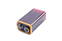 Nine volt battery. On white Royalty Free Stock Photos