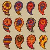 Nine warm colors paisley ornament elements Stock Photos