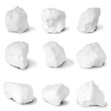 Nine white snowball. (Nine clipping path) Royalty Free Stock Images