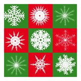 Nine white snowflakes Royalty Free Stock Image