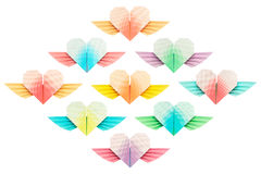 Nine Winged-hearts. Paper folded winged-hearts isolated on a white background stock image