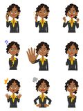 Nine women`s gestures and facial expressions of black women. The images of Nine women`s gestures and facial expressions of black women royalty free illustration
