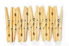 Nine Wooden Clothespins Stock Photo