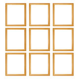 nine wooden frames isolated on white Stock Photography