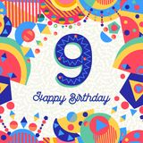 Nine 9 year birthday party greeting card number Royalty Free Stock Images
