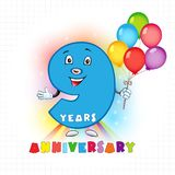 9 anniversary funny logo. Nine years old animated logotype. 9 anniversary funny logo. Kids birthday colored card with personified digit, many bright celebrating Stock Illustration