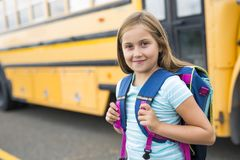Nine years old girl student at school. A nine years old girl student at school Royalty Free Stock Photo