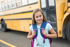 Nine years old girl student at school. A nine years old girl student at school Stock Image