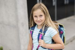 Nine years old girl student at school. A nine years old girl student at school Royalty Free Stock Photography