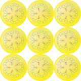 Nine yellow balls with floral pattern in the center seamless pattern vector illustration